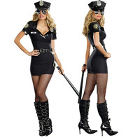 Sexy Ladies' cosplay police Costume Women Adult Sex Police Costume Halloween Outfit Dress Carnival Police Uniform M/XL