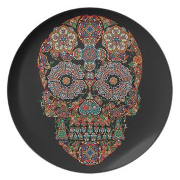 Colorful Flower Sugar Skull Melamine Plate