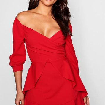 Ruffle Detail Wrap Skater Dress | Boohoo