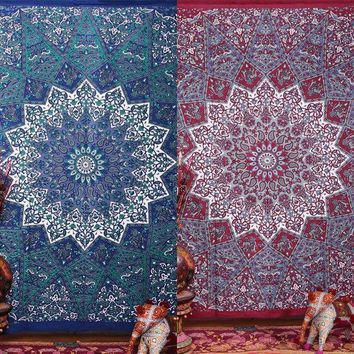 ESBU3C New Tassel Design Indian Mandala  Tapestry Wall Hanging Boho Summer Beach Throw Towel Yoga Mat Blanket Table