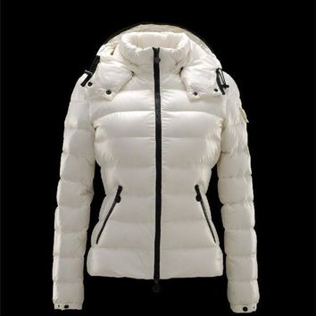 Moncler Bady Detachable Hood Ivory Jackets Lacquered Nylon Womens 41224540PX