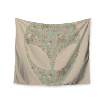 "Alias ""Floral Alien"" Pink Teal Wall Tapestry"