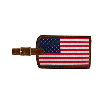 Big American Flag Needlepoint Luggage Tag by Smathers & Branson