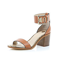 River Island Womens Brown chunky block heel sandals