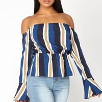 Lunch Date Peplum Top - Navy/Multi