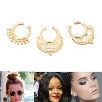 Gold 3 PIECE Simple Statement NOSE RING SET II Metal One Size Celebrity Style