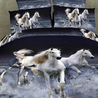4pc bedding set 3D bedding set with Running Horses  King/ Queen Size Custom bedding Sets Cotton Bedding Set  Oil Painting style Bedding set