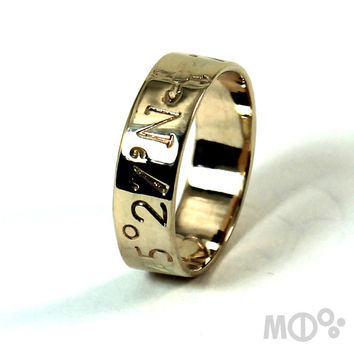 10K Ring band 6mm (1/4'') wide 2 engravings included, solid 10K yellow gold ring, personalized wedding ring band, coordinate ring