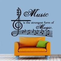 Wall Decal Vinyl Sticker Decals Music Is Strongest Form of Magic Quote Wall Decor Art Mural Na51