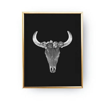 Bull Skull Black Print, Boho Desert, Black And White Print, Animal Print, Floral Cow Skull, Bohemian Wall Art, Hippie Decor, Minimal Print