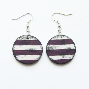Retro wooden earrings, earrings wood, stripes, hand painted, handmade, marine