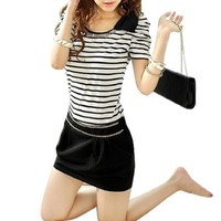Women Scoop Neck Puff Short Sleeves Stripes Pullover Dress