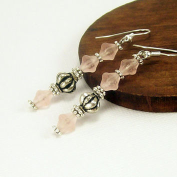 Pale Pink Beaded Earrings~ Dangle Casual Rustic Earrings~ Summer Jewelry~ For Women~ Handmade~ Beaded Jewelry