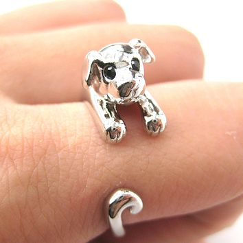Puppy Dog Animal Wrap Around Ring in Shiny Silver | US Sizes 4 to 9