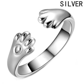 Cute Dog Cat Paw Ring for Women Silver Plated Claw Jewelry Kitty Paws