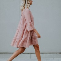 Ruby Ruffle Day Dress (Mauve)