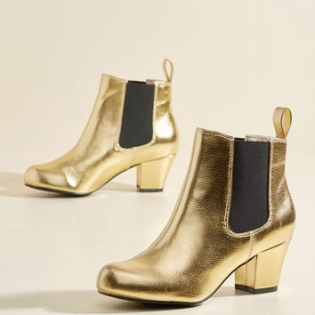 Lover of Luster Bootie in Gold | Mod Retro Vintage Boots | ModCloth.com