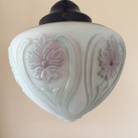 Vintage Art Nouveau Pendant Light Art Victorian Pale Blue and Pink Acorn Shape 1920s