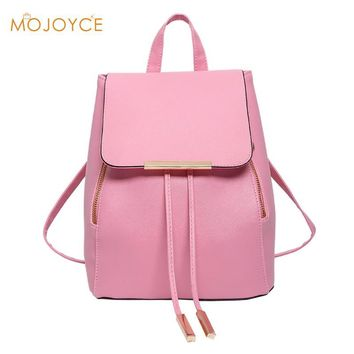 Women Backpack High Quality PU Leather Mochila Escolar School Bags For Teenagers Girls Leisure Backpacks Candy Color 2017 Bolsa