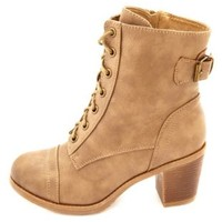 Lace-Up Chunky Heel Combat Boots by Charlotte Russe - Taupe