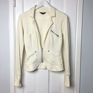 Armani Exchange women's Cream Cotton Fleece Blazer sz S