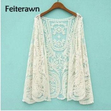VONETDQ Feiterawn 2017 Women Summer Sexy Beach Lace Tunic Cardigan Hollow Out Floral Embroidery Sunscreen Smock Bikini Cover Up DY1015
