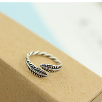 Shiny New Arrival Stylish Gift Jewelry 925 Silver Leaf Twisted Accessory Ring [7652914951]