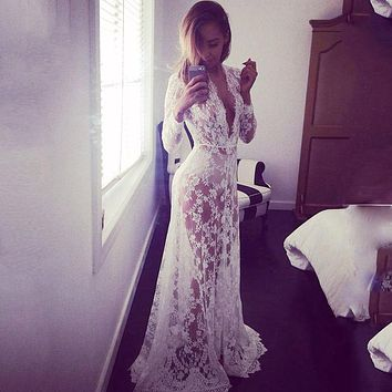 GZDL New Style  Women Boho Embroidered Floral Bohemian Sexy Lace Beach Wear Long Dress White Maxi Dress  Style CL2712