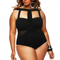 """Panama"" Faux Mesh Insert Plus Size Swimsuit- Black - Sale - Monif C"