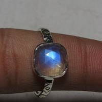 Rainbow Moonstone  Ring Rose Cut Cushion Shape Faceted Ring So Nice Blue  Flash Fire Ring Bezel Ring Silver Ring