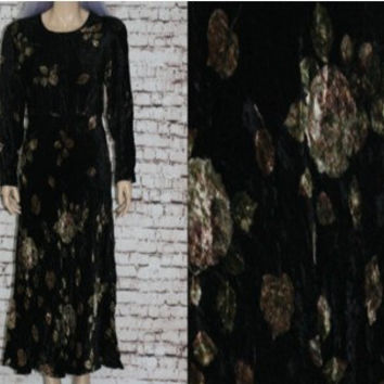 90s Midi Dress Floral Black Velvet Long Sleeve Maxi Romantic Hipster Grunge Nu Goth Boho Festival Gypsy 80s S M Rayon