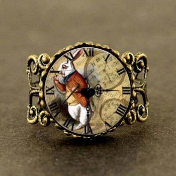 Alice in Wonderland rabbit watch adjustable ring Fairytale girl women men friends gift vintage antique charms silver bronze time