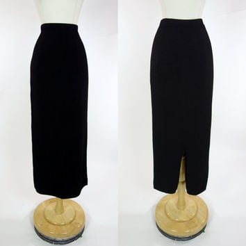 1990s black pencil skirt, long hand loomed knit high waist skirt, small, Duna