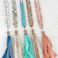 Frosted Stone Tassel Necklace
