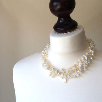 Wedding Jewelry, Crochet Statement Necklace, Pearls, Natural Stones, Bib Necklace, Beadwork, ReddApple, Gift Ideas For Her