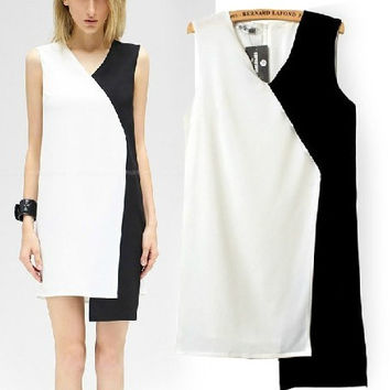 Summer Women's Fashion Patchwork Sleeveless Vest Dress One Piece Dress [5013347972]