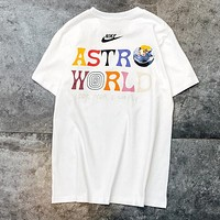 NIKE Summer Newest Women Men Personality Print Round Collar T-Shirt Top White
