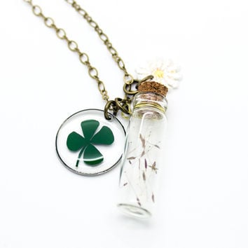 Clover bottle long necklace