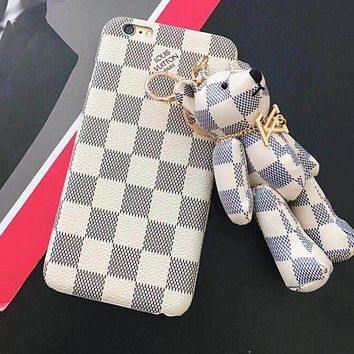 LV Louis Vuitton Gucci Fashion Cute Bear Mobile Phone Shell iPhone Phone Cover Case For iphone X iPhone6 6s 6plus 6s-plus iPhone 7 7plus(4-Style) I