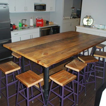 """Industrial style table with shelf below. We make them in any size. 108"""" l x 48"""" w x 42""""  tall"""