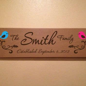 Personalized family name sign, established sign, wood sign, personalized, wedding gift, anniversary gift, by YourDecorStore on etsy