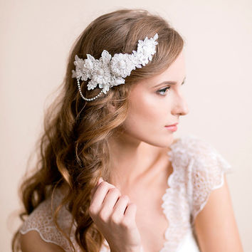 Bridal Lace Headpiece with Rhinestones - Wedding Lace Headpiece - Wedding Hair Accessories - Bridal Hair Accessories - Ivory, gold, silver