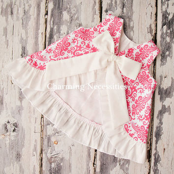 Baby Girl Open Back Pinafore Dress YOU CHOOSE from 7 fabrics by Charming Necessities Infant Set Outfit Clothing Damask