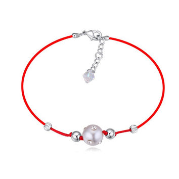 Austrian Crystals jewelry thin red thread string rope Charm Bracelets & bangles