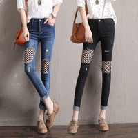 Fashion Worn Ripped Hollow Fish Net Stretch Long Pants Small Foot Pencil Jeans