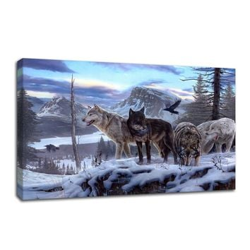 Animal Wall Art Canvas Painting Art Picture Print Wolves Photo PRINT on Canvas Poster Art For Home Wall Decoration(Frame: No)
