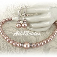 Champagne pearl earrings and necklace, bridal wedding jewelry