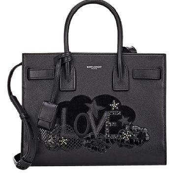 New YSL Yves Saint Laurent applique baby Sac De Jour bag tote $2999 black
