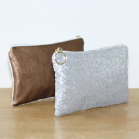 Gray Silver Sequin and Copper Metallic Leather Clutch / Sparkly Bachelorette Favor / Fancy Bridesmaid Gift Bag - Almquist Design Studio
