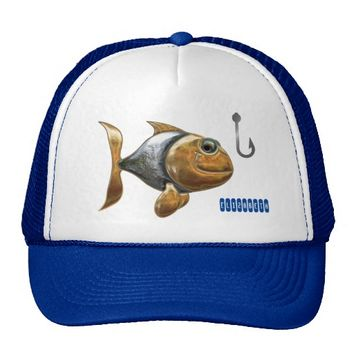 Golden Silver Sparkling Fish With Fishing Hook Trucker Hat